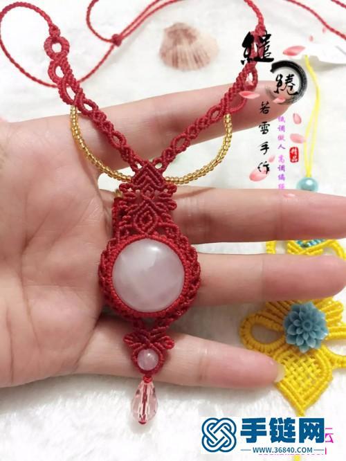 绳编蔷薇水晶项链的详细制作图解