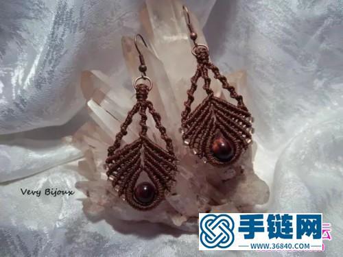 绳+珠子编的雀羽串珠耳坠的制作图解