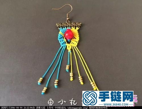 中国结编织双色复古蜡线耳坠教程