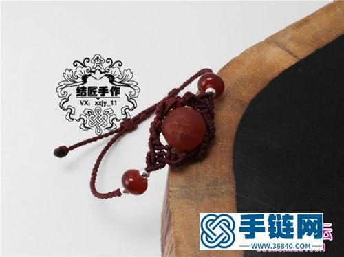 南美蜡线编织简约珠子手链的详细教程