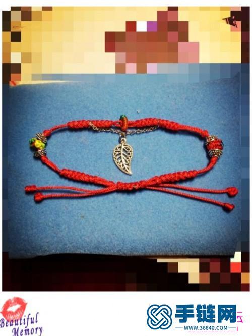 玉线红绳脚链的制作方法