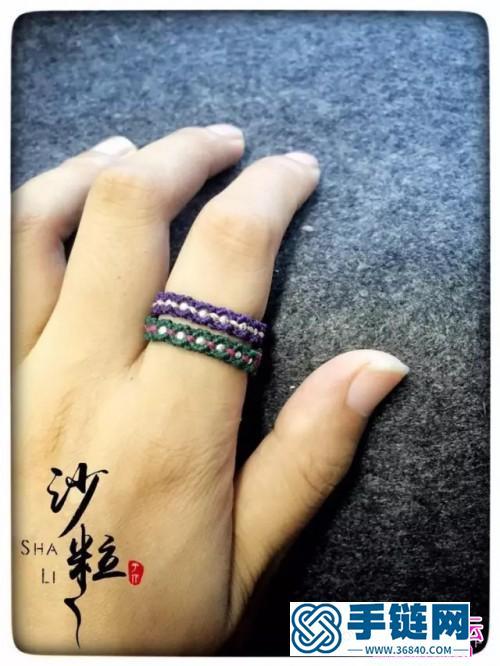 中国结编织串珠二色小戒指图解