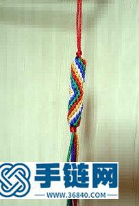 绳编圆柱形五彩手机链教程(冰燕)