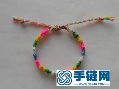 中国结编绳简单DIY_韩国丝五彩方块手绳的编法图解