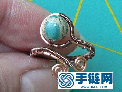 纯铜线手编孔雀石戒指环简单DIY教学