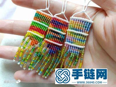 编绳民族风饰品挂件_简单DIY好看的渐变色蜡线耳环