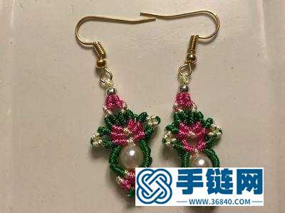 手工制作创意红绿配编绳圣诞耳环