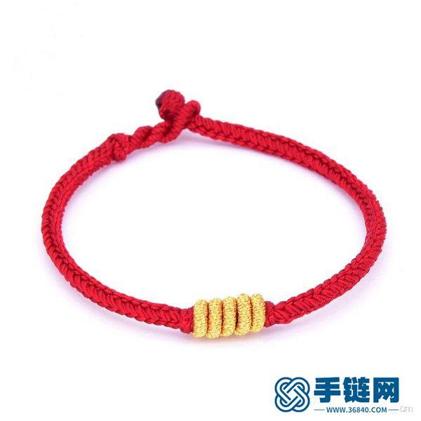 好运八股辫红绳手链编法教程