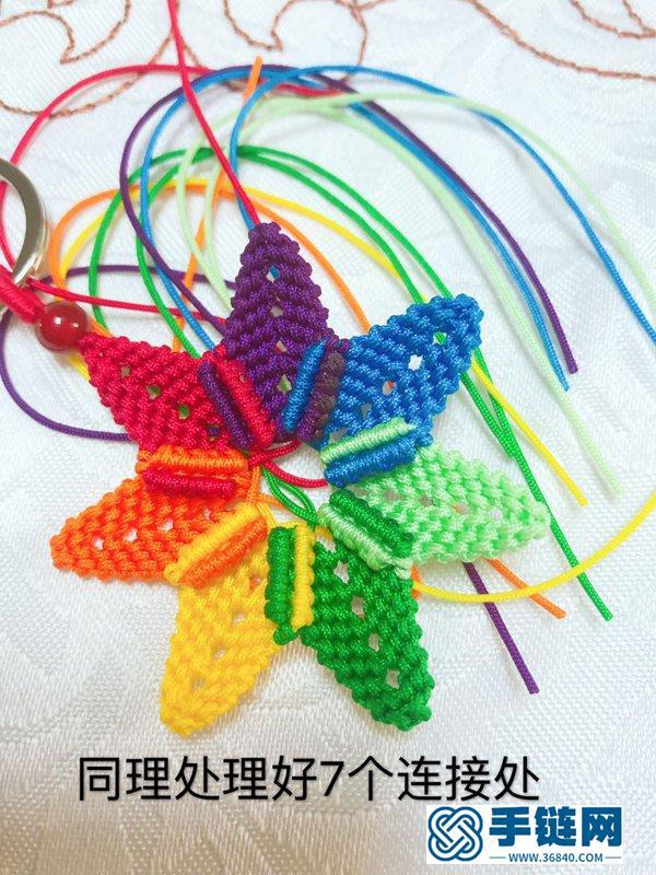 七色堇挂饰的编法 用绳子编一个七色堇钥匙扣