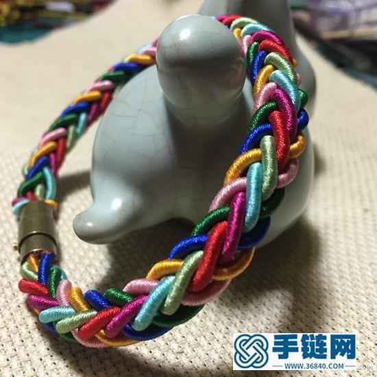 八股辫彩虹手链编织教程