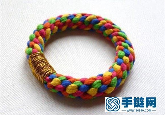 五股彩绳编织的时尚多彩圆形手镯