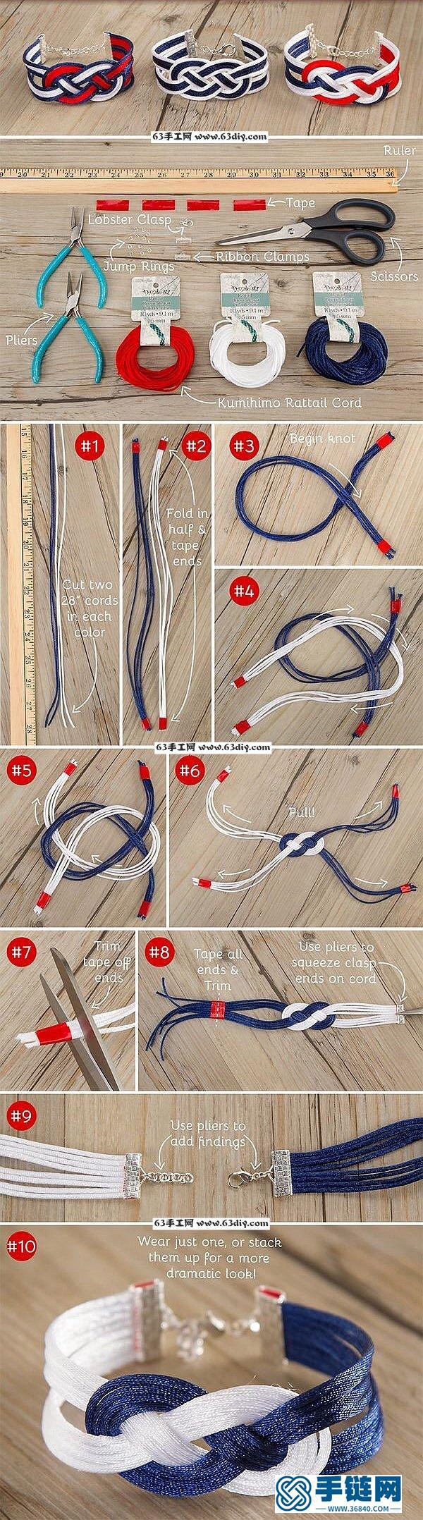 三色编绳手链手镯的编织图解