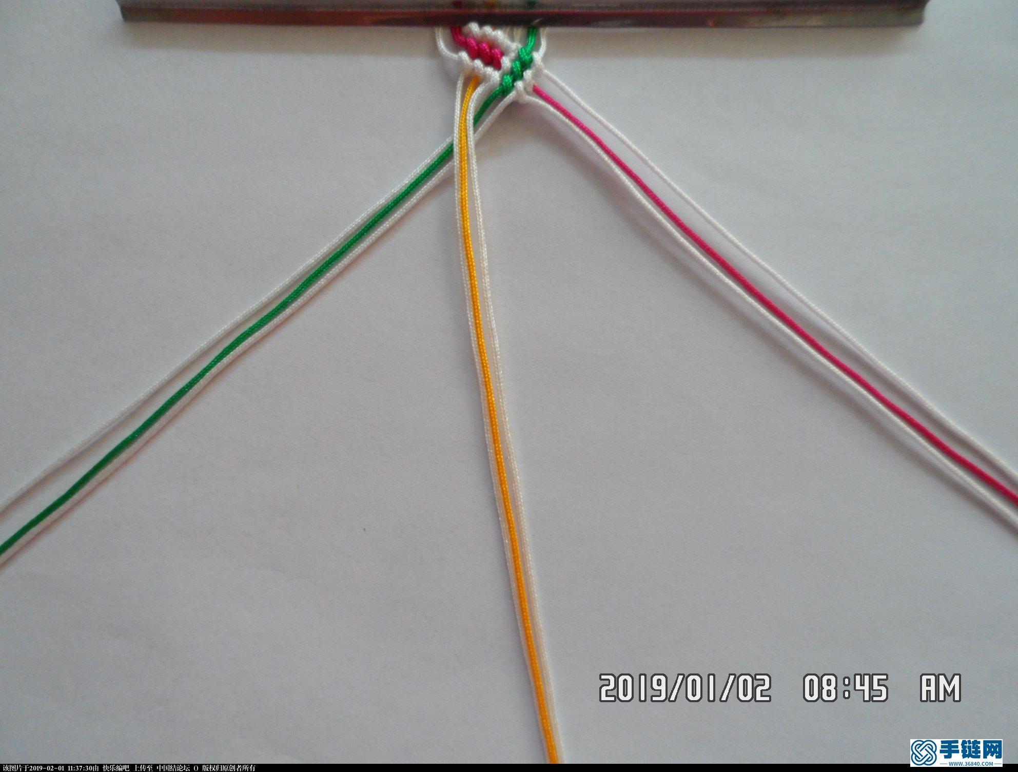 一款彩色辫子图案手绳的编法 —— 反斜卷结练习