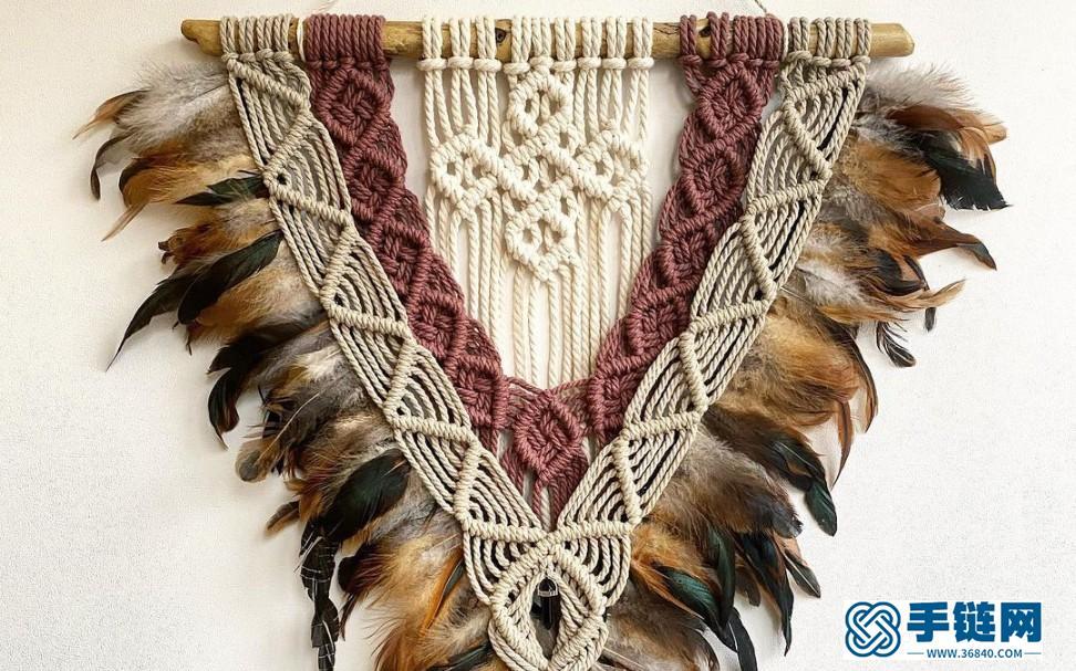 手工教程 | Macrame编织波西米亚羽毛流苏挂毯装饰