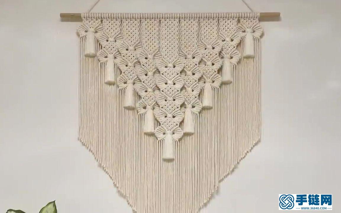 手工教程 | Macrame编织波西米亚花边叶子挂毯装饰