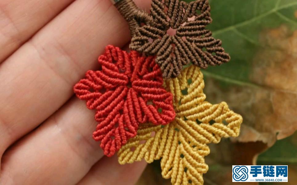 美图欣赏 | 秋天的思念 | Macrame手工编织枫叶 橡树叶 银杏叶 耳环胸针 项链挂饰