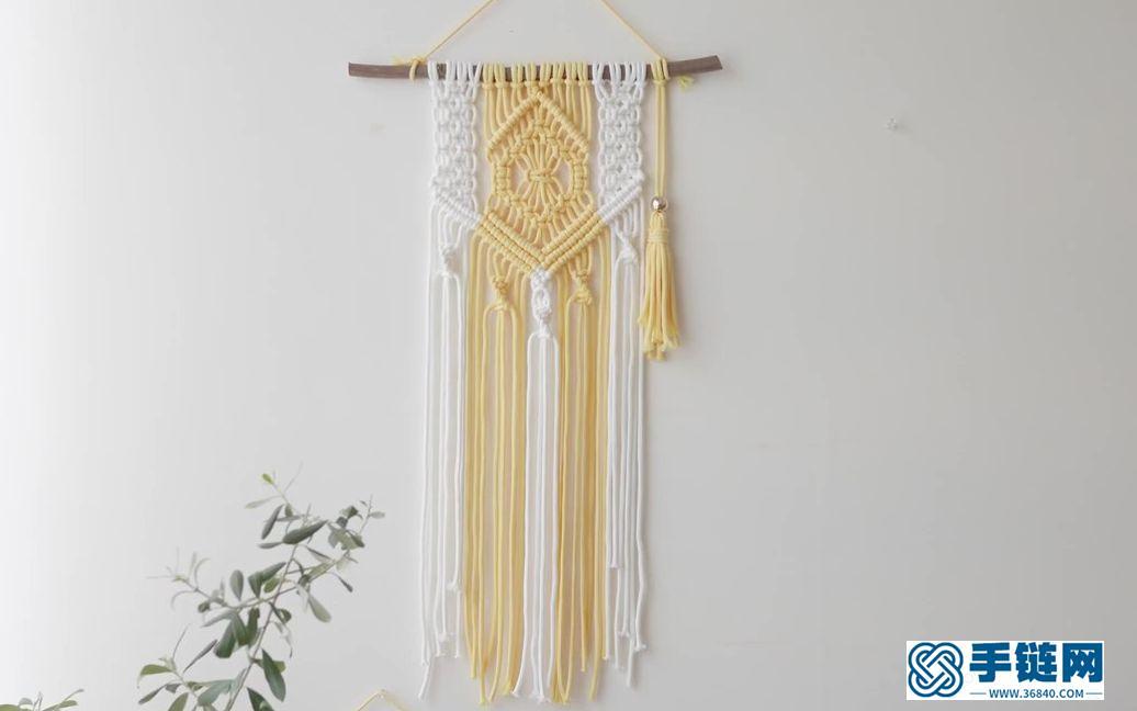 Macrame编织清新拼色小挂毯墙面装饰