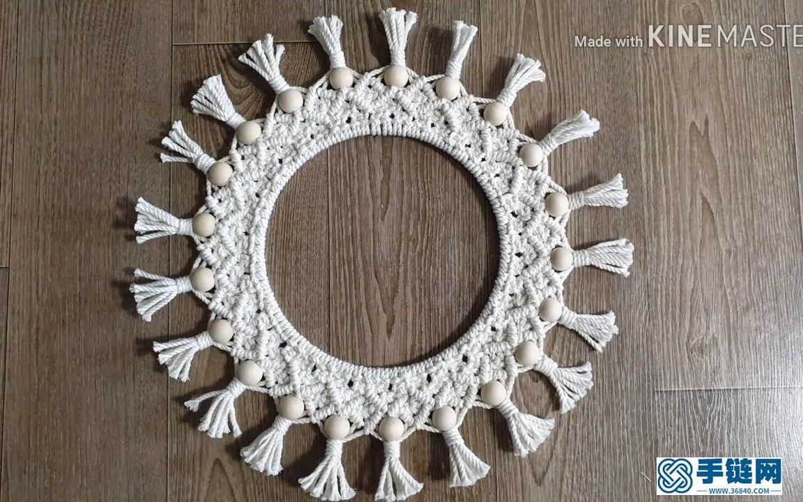 Macrame编织圆形花环壁挂装饰
