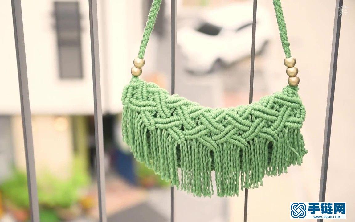 Macrame编织抹茶绿单肩包,清新又淡雅