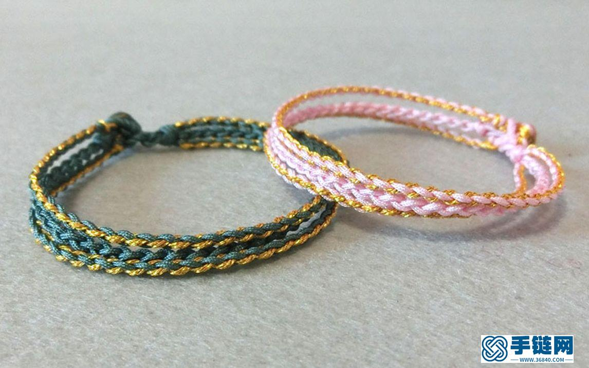 四股辫的三生绳这样编织,,很好学