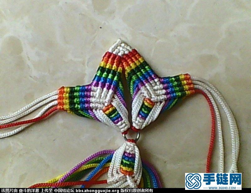 七色彩虹花编制过程编绳教程-完整编法步骤