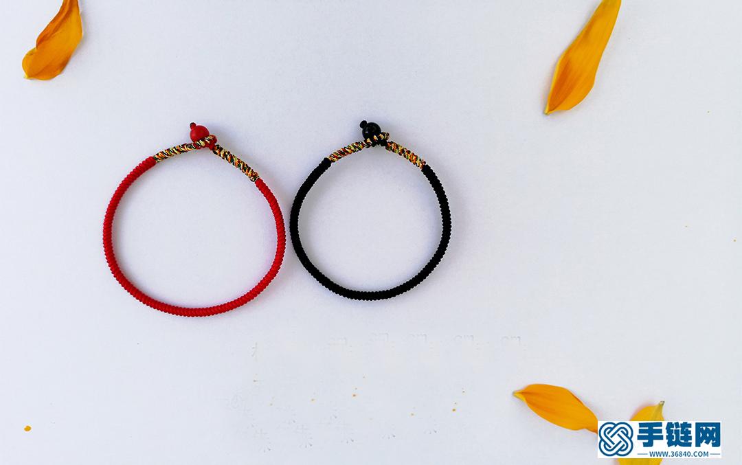 编绳教程- 双色金刚结情侣手绳 蛇结与包芯金刚结编法相结合的一款红黑经典配色的情侣手绳 情人节快到了 把你的心意送给他吧!