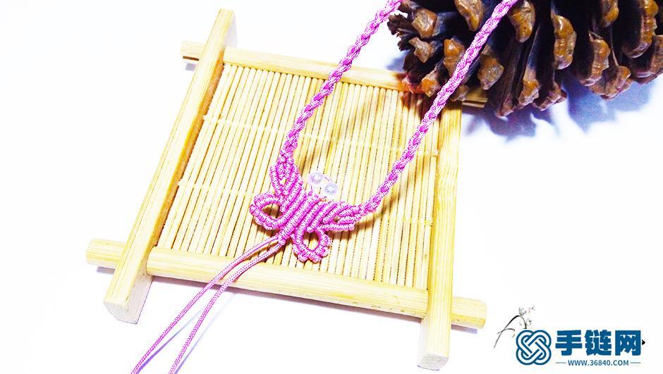 蝴蝶结项链编织教程,简单编项链绳子的方法图解