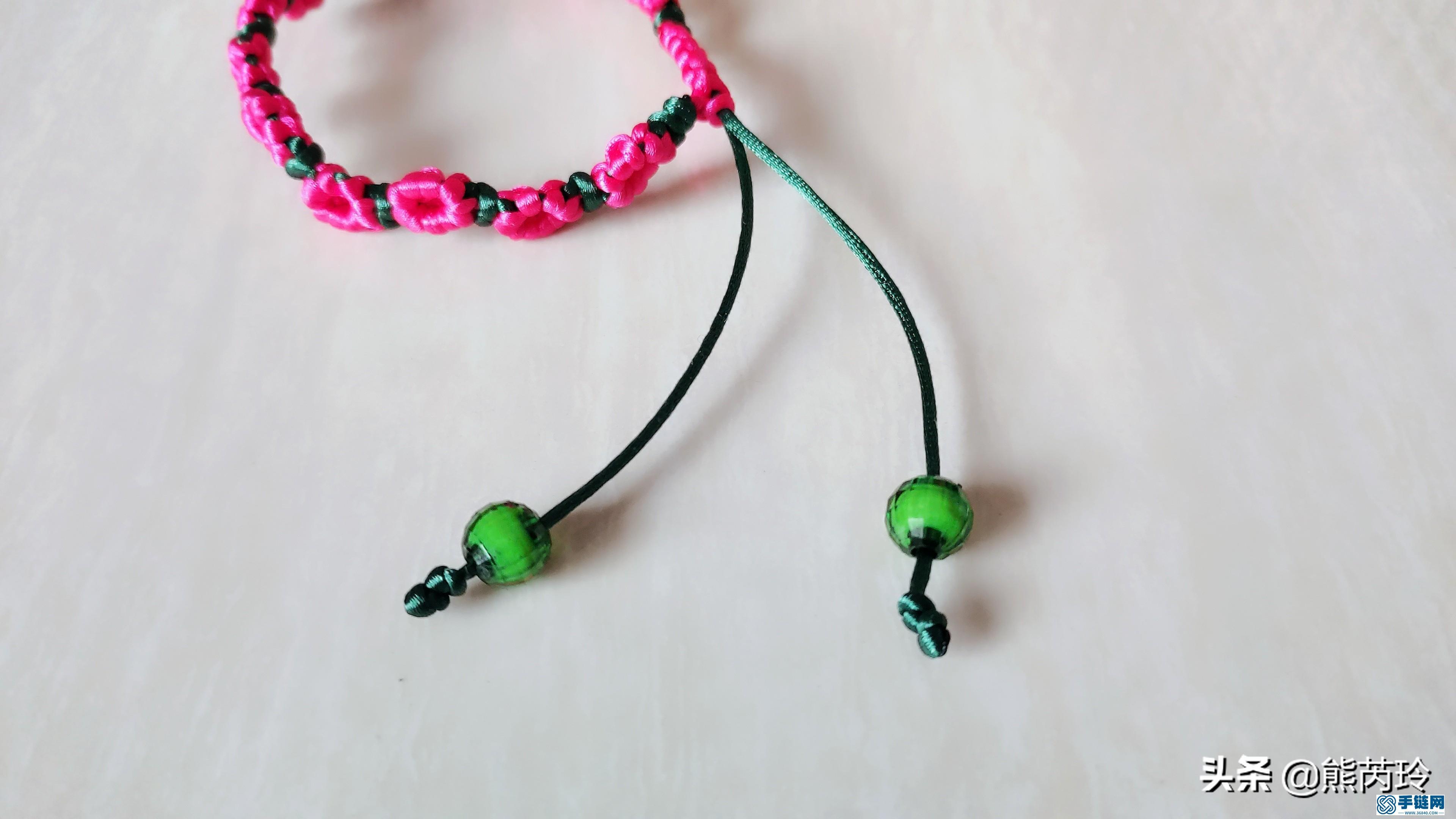 梅花手链的编法图解,学习梅花手绳编织教学